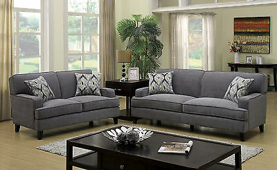 Stathelle 3 Piece Sofa Set Upholstered In Gray Flannelette Fabric Cad 1 Picclick Ca