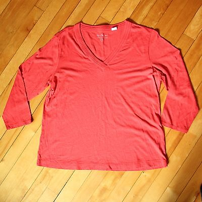 Jjill Womens Sz S Coral Knit 34 Sleeve Top V Neck Classic Casual