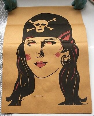 Vintage Topstone Brown Paper Bag Halloween Mask Lady Pirate Folded Unused