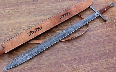 Damascus Knife Custom Handmade  - 37.00 Inches OAK Wood Handle Sword 786-63