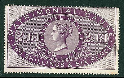 GB Great Britain MATRIMONIAL CAUSE 2/6d, lilac 1858 mint revenue. Extremely rare