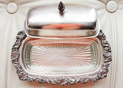 1900-1940 Antique Silverplate Ornate Butter Dish with Glass Insert