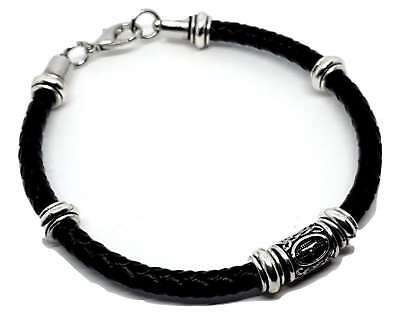 Viking Norse Pewter Elder Futhark  THURISAZ Bead  THORS RUNE   Leather Bracelet