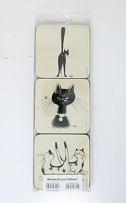 """Dubout NiB Editions Clouet 34002 Drink Coasters Dubout  4"""" Set Of 6   2035A"""