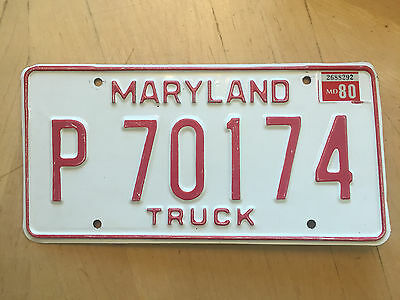 "1980 Maryland Truck License Plate "" P 70174 "" Md 80 Trk"