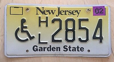 "New Jersey Handicapped Disabled Person  License Plate  "" Hl 2854 "" Nj Wheelchair"