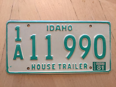 "1981 Idaho House Trailer License Plate "" 1A 11 990 "" Id 81 Famous Potatoes"