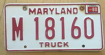 "1980 Maryland Truck License Plate "" M 18160 "" Md 80 Trk"
