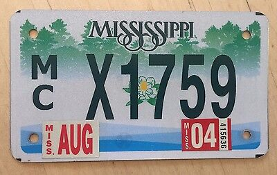 """2004 Mississippi Motorcycle Cycle License Plate """" X1759 """" Ms"""