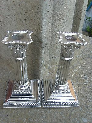 Silver Corinthian Column Candlesticks Goldsmiths -Silversmiths Co London 1900
