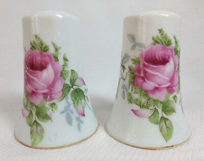 Vintage Salt and Pepper Shaker Lefton China Hand Painted Rose