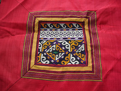 Turkish hand embroidered square silk red cushion  cover with zip