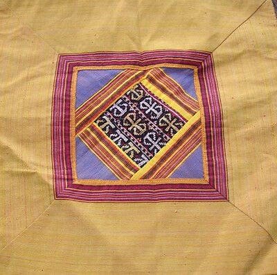 Turkish hand embroidered square silk yellow cushion  cover with zip