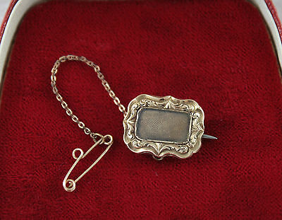 Antique Mini Hair Mourning Brooch Victorian Gold Plated Brown Safety Chain