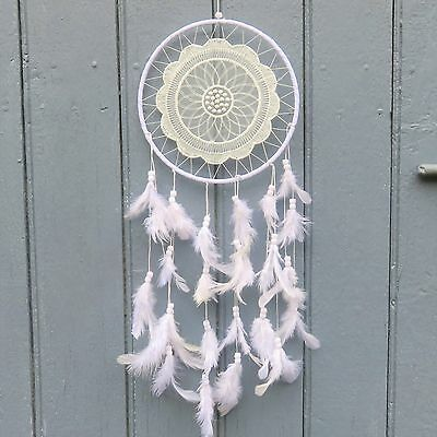 Attrape rêves - Dream Catcher Bohème Chic Blanc 50 cm