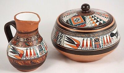 Peru Ceramic/Pottery 2 Vessels Hand Made Collectible South America Home Decor