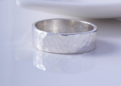 STERLING SILVER HAMMERED 6mm BAND RING 925 CHOOSE SIZE ~ BRAND NEW