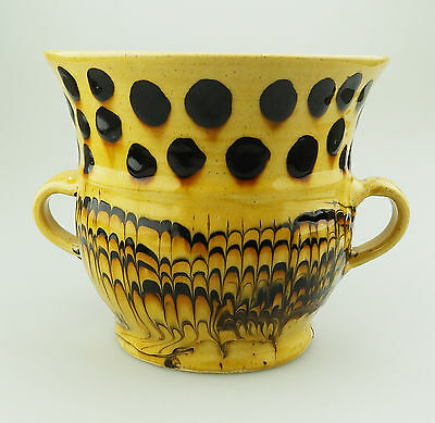 Vintage British Earthenware Pottery : A fine combed Slipware Loving Cup C.20thC