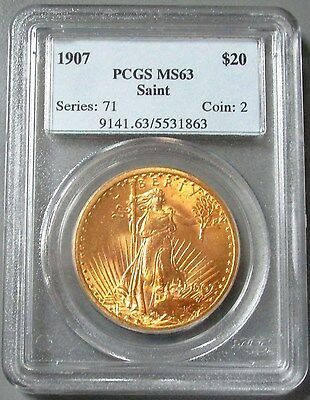 1907 Gold $20 St Gaudens Pcgs Mint State 63