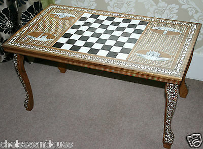 1970s Vintage LIBERTY LONDON Coffee Table/Chess Table Mother of Pearl Inlay Bone