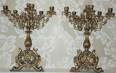 Antique CANDELABRAS 2/Pair Louis XV Large French Bronze Gilt/Gold Candlesticks