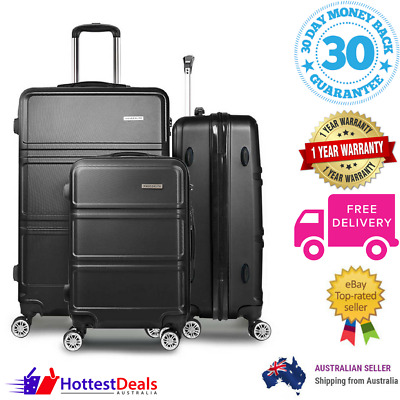 Suitcase Luggage Set 3pc Trolley Case TSA Hard Shell Dual Wheels Lock Black