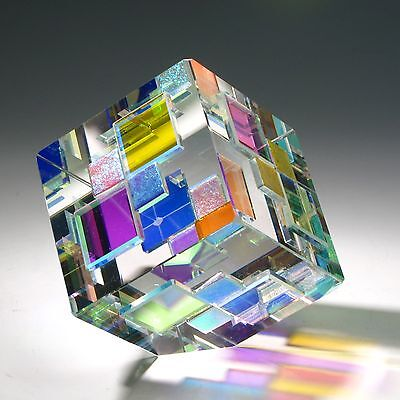 "NEW Optic Crystal Glass Paperweight ""DUETTO"" by Ray Lapsys"