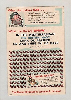 Postcard:wwii.comic.mussolini.what The Italians Say....rare Card