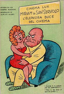 Postcard:wwii.comic.mussolini Is Always Right. Very Rare Card.italy