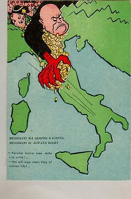 Postcard:wwii.comic.mussolini Is Always Right.rare Card.clean Italy Of Civ Life