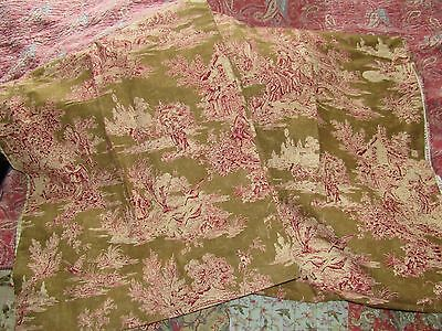 "Waverly by Schumacher 'Wellington"" Toile Fabric Lined for Drapes 2 panels"