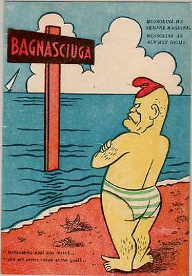 Postcard:wwii.comic.mussolini Is Always Right.rare Card.we Will Arrive Naked!