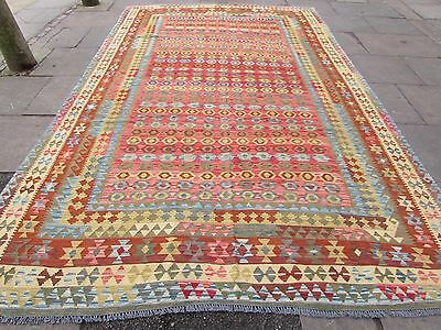 Kilim Old Traditional Hand Made Afghan Oriental Red Wool Large Kilim 405x250cm