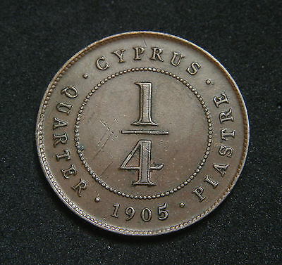 Cyprus 1905 1/4 Piastre Strong Details a few Light Scratches on Reverse