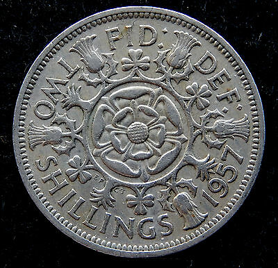 1957 UK Great Britain Florin / Two Shilling Coin KM#906 SB3506