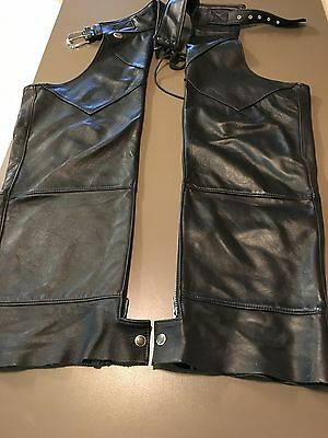 Harley Davidson Black Leather Motorcycle Pants Chaps Men's Medium Very Good