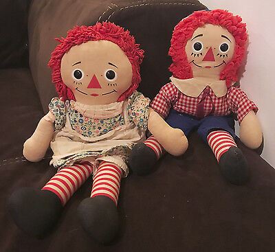 """2PC Vintage Knickerbocker Raggedy Ann & Andy Dolls 15"""" Outfits Tagged Used"""