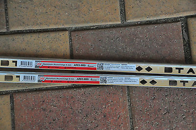 2 x 3 metre lengths silver sheen tile trim 8mm (beaumonts) new
