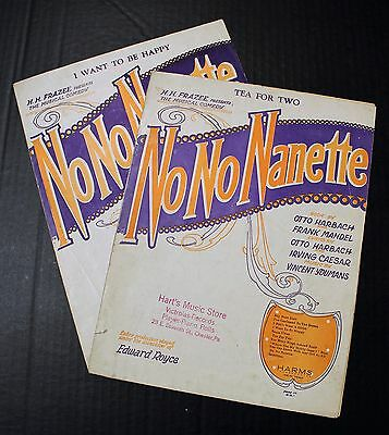 "Vintage No No Nanette (2) Song Sheets 1924 ""i Want To Be Happy"" ""tea For Two"""