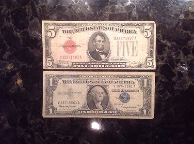 1928 B $5 USN - Red Seal + 1957B $1 Silver Certificate - Blue Seal