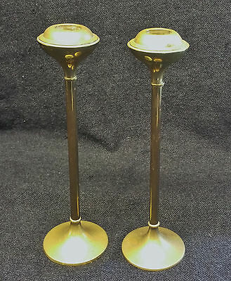 Vintage Pair of Arts & Crafts Style Brass Candlesticks, Original Patina