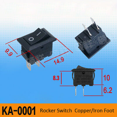 Rectangle Rocker Switch 10A 250V 2Pin OFF-ON I-O Sign SPST Miniature Micro PCB