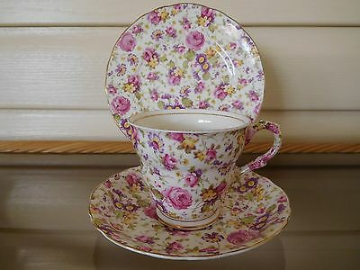 """James Kent """"Rapture"""" Trio 3007 Floral Chintz Made In England 1930s"""