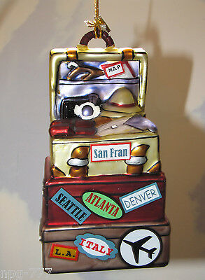XMAS Luggage Ornament Vacation Travel Steamer Trunks Suitcases Italy Seattle LA