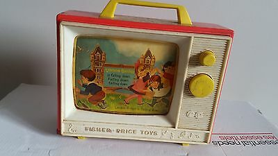 Vintage 1966 Fisher Price Giant Screen Two Tune Music Box TV Wood Bottom