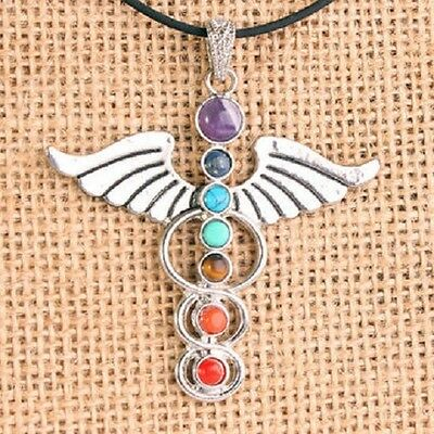 Silver-plated chakra pendant necklace with semi-precious stones