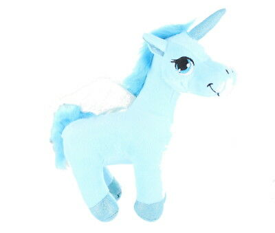 """Children's 9"""" Plush Unicorn With Wings Soft Cuddly Teddy Toy  -Blue"""
