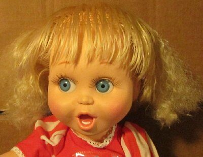 1990 Galoob BABY FACE Doll SO SURPRISED SUZIE #2 dressed blonde hair