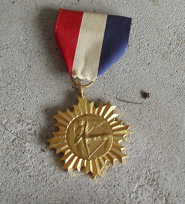 Vintage Gold Tone Metal Archery Medal with Ribbon Pin