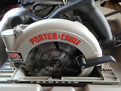 Clean, Usa Made Porter Cable 743 Left Hand Circular Saw W/ Case Wrench Nozzle